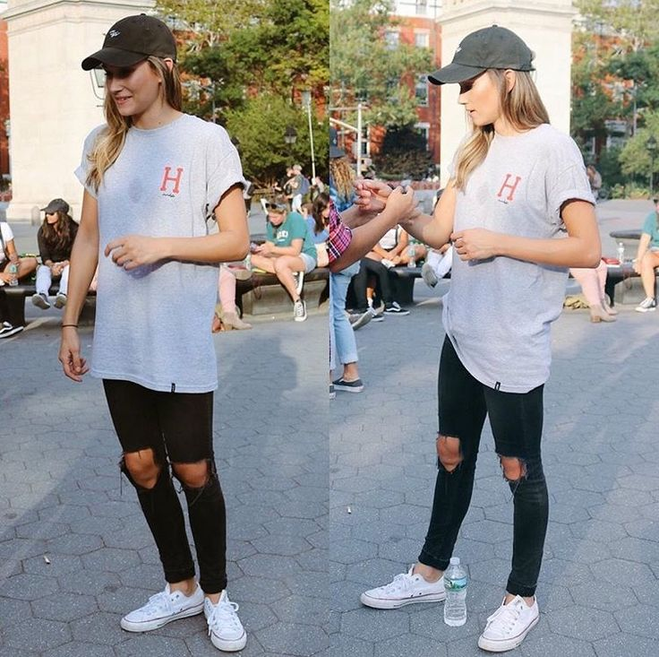 long tee w jeans and hat