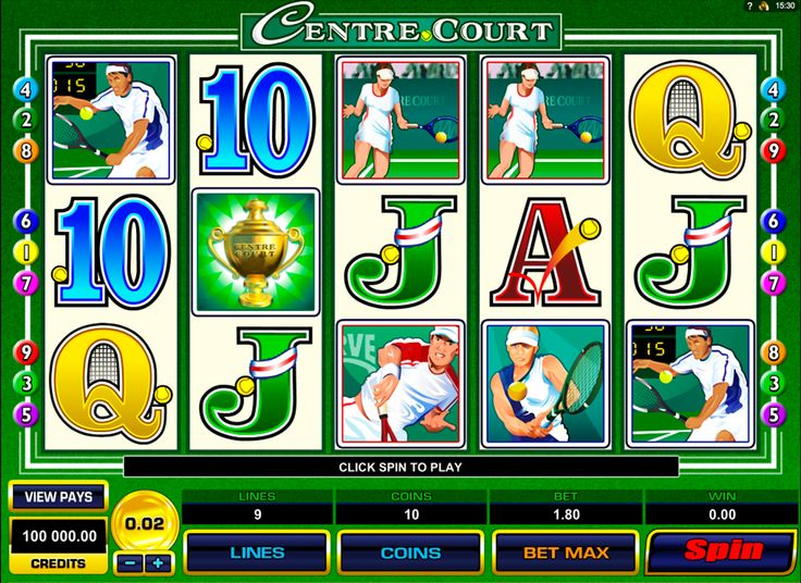 Centre Court is based on tennis thematic. This 5 reeled online slot, with 9 paylines, has beautiful images,related to tennis. Green background is also helping you to feel yourself at the tennis court. Yellow tennis ball is a Scatter symbol and if you get three scatters, you will be rewarded with free spin feature.