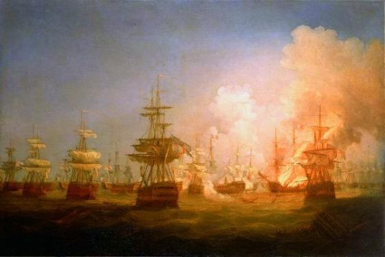 At 21:00, a fire was seen on the lower decks of the Orient.  Identifying the danger this posed to the French flagship, Captain Hallowell directed his gun crews to fire their cannon directly into the blaze. Sustained British cannon fire spread the flames throughout the ship's stern, and prevented all efforts to extinguish it.  Within minutes the flames had ascended the rigging and set the vast sails alight.