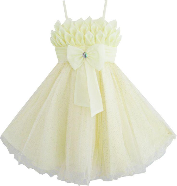 Girls Dress Light Yellow Tulle Flower Tank Wedding Bow Tie Children Size 4-7 New