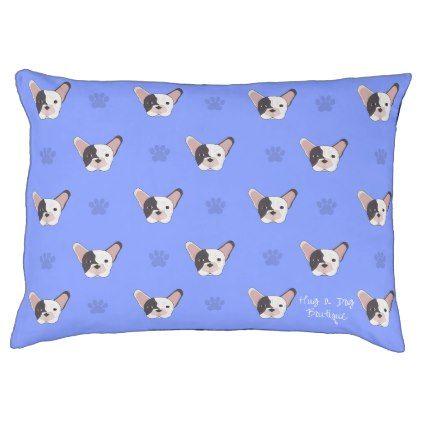 #Blue Paw French Bulldog Plush Dog Bed - #bulldog #puppy #bulldogs #dog #dogs #pet #pets