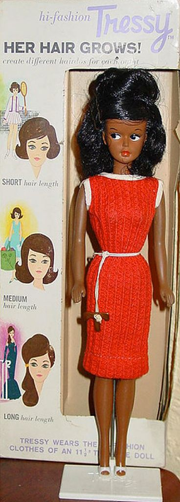"12"" vinyl Tressy doll with stand and original box, rare black variation, United States, 1964-65, by American Character."