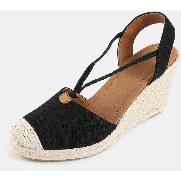 Linen Espadrille Wedges BLACK (600 MXN) ❤ liked on Polyvore featuring shoes, sandals, espadrille sandals, black wedge espadrilles, wedge espadrilles, black wedge sandals and linen shoes
