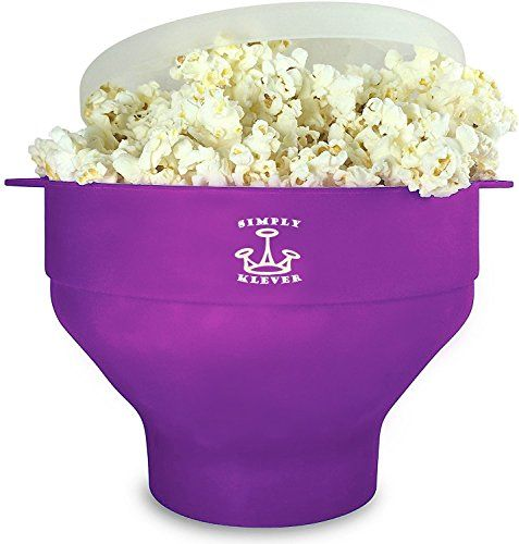 Simply Klever Microwave Popcorn Popper, Silicone Popcorn Maker, Collapsible Bowl BPA Free (Purple)