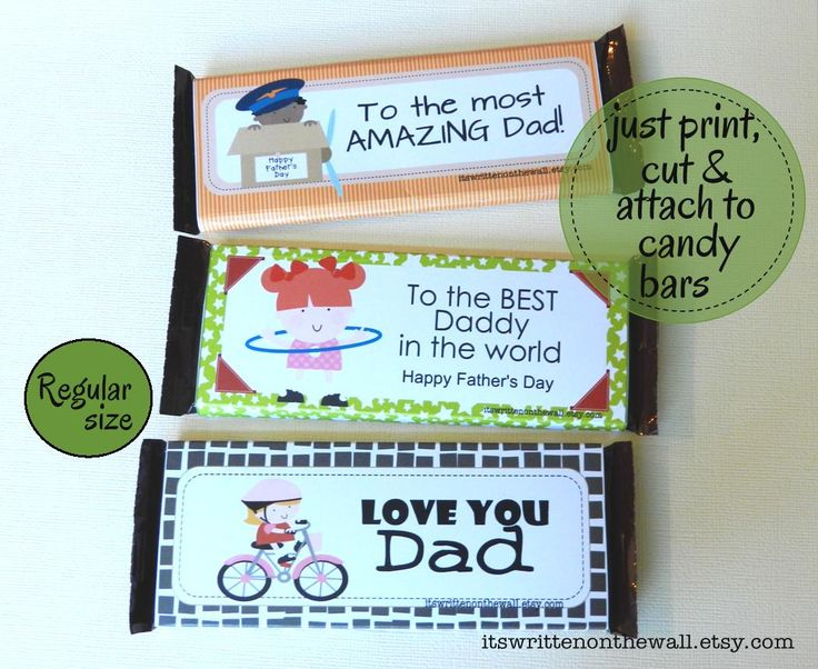 It's Written on the Wall: 14 Father's Day Themed Candy Bar Wraps-For Reg. Bars & Giant Bars-Easy Gift for the Kids to Give Dad