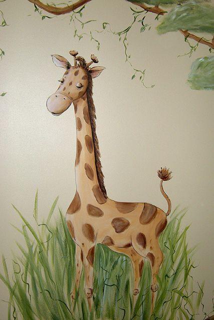 Giraffe – Wunderliches Dschungel-Kinderzimmer-Wandgemälde- -#wandgestaltung