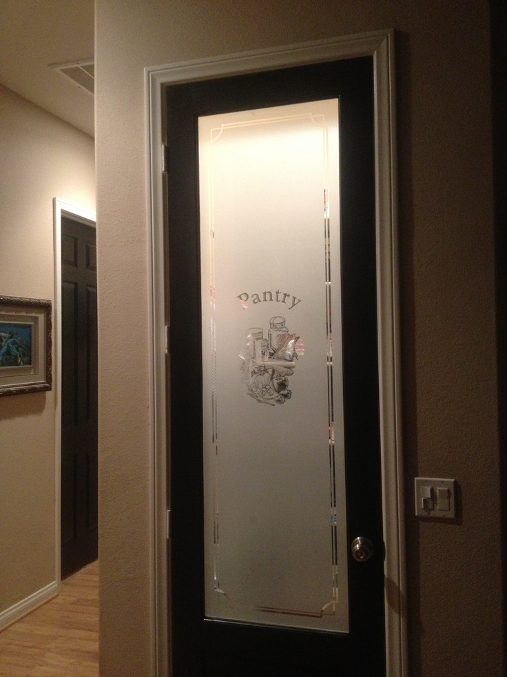 Frosted glass pantry pocket door this satinetched glass for Frosted glass barn door