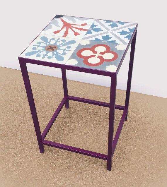 """Side table  """"CORNER"""" in steel and hydraulic mosaic tiles. Mesa rinconera """"CORNER"""" en hierro y baldosas hidráulicas."""