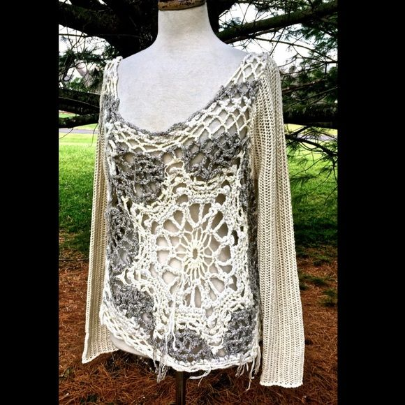 """Free People ivory Snowflake in Crochet Sweater S GORGEOUS FREE PEOPLE IVORY & PINK TEXTURED MARLED OVERSIZED CROCHET LACE  BACK SLIGHTLY SWING PULLOVER SWEATER NWT S / 20"""" long Free People Sweaters"""