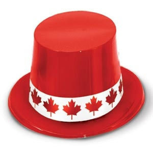 Red Top Hat with Maple Leaf Band