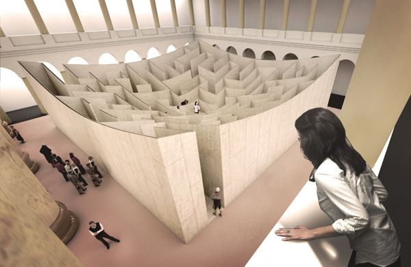 """BIG Designs Labyrinth for Atrium of National Building Museum """"From the core, then, visitors receive a view of the entire layout – and a better understanding of how to get back out."""""""