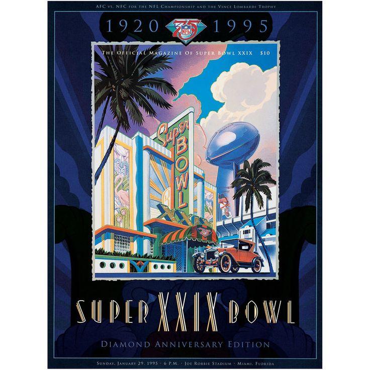 """Fanatics Authentic 1995 49ers vs. Chargers 22"""" x 30"""" Canvas Super Bowl XXIX Program"""