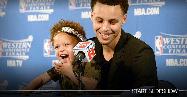Too cute! Golden State Warriors' Stephen Curry's daughter Riley took over his post-game press conference.