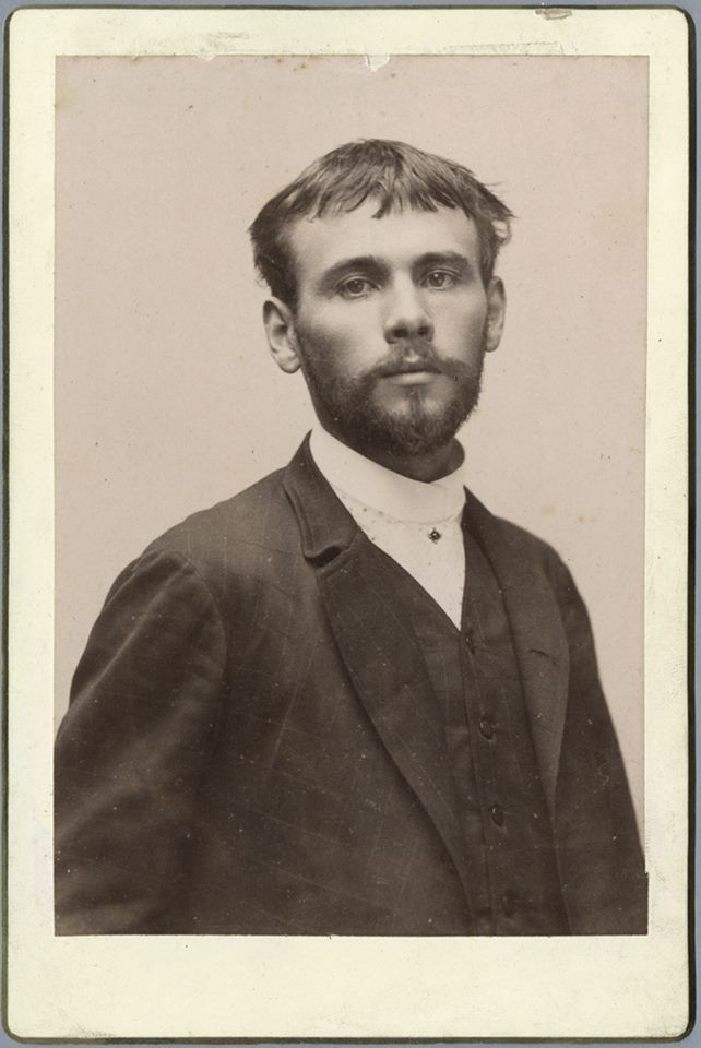 Gustav Klimt at 25 in 1887. At that time he was working with his brother, Ernst, and a colleague to fresco the new Burgtheater and Kunsthistorisches Museum.