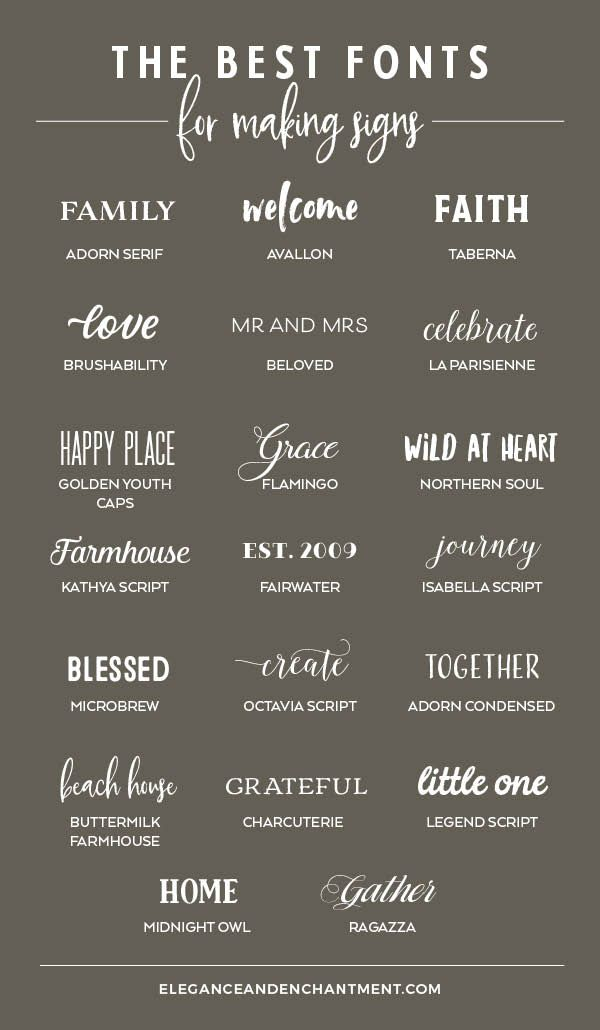The Best Fonts For Making Signs Elegance Enchantment Cricut Fonts Cool Fonts How To Make Signs