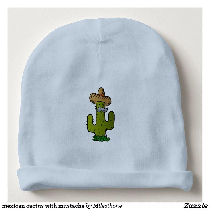 cactus mexicano con el bigote gorrito para bebe