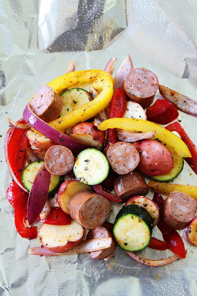 Grilled Sausage and Vegetable Foil Packets make a quick and easy summer meal!