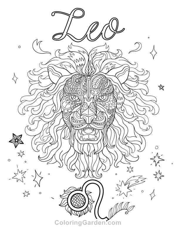 190 best images about zodiac coloring pages for adults on for Leo coloring pages