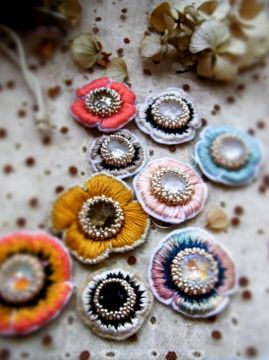 Jewelled embroidered flowers