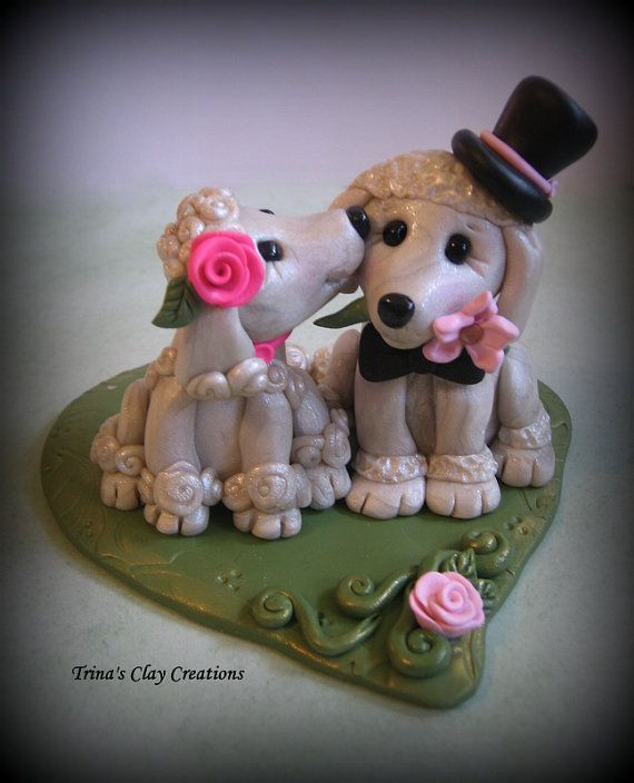 Poodle Wedding Cake Topper/Keepsake ~ By Trina's Clay Creations