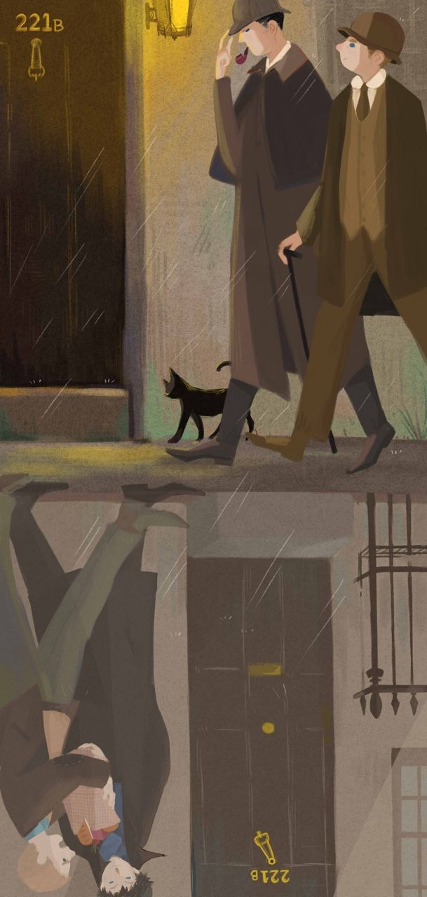 Victorian Sherlock & John with modern Sherlock & John in reflection <-- that's really cool!
