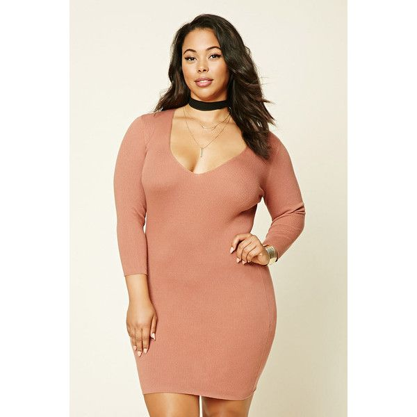 Forever21 Plus Size Bodycon Dress ($15) ❤ liked on Polyvore featuring plus size women's fashion, plus size clothing, plus size dresses, amber, v neck dress, plus size bodycon dresses, plus size red cocktail dress, 3/4 sleeve dress and red v neck dress