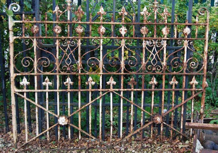 A Victorian wrought iron garden gate,