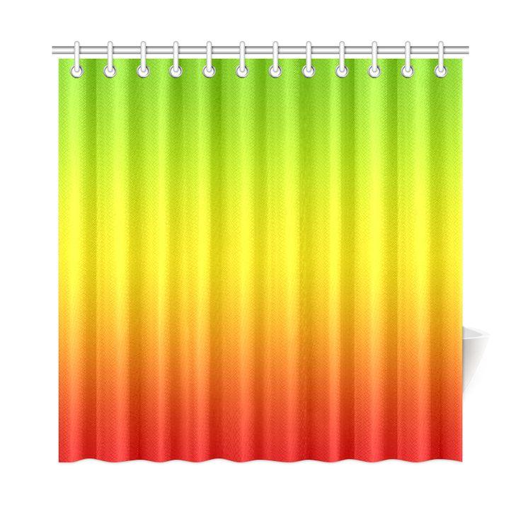 Rastafari Gradient Green Yellow Red Shower Curtain 72
