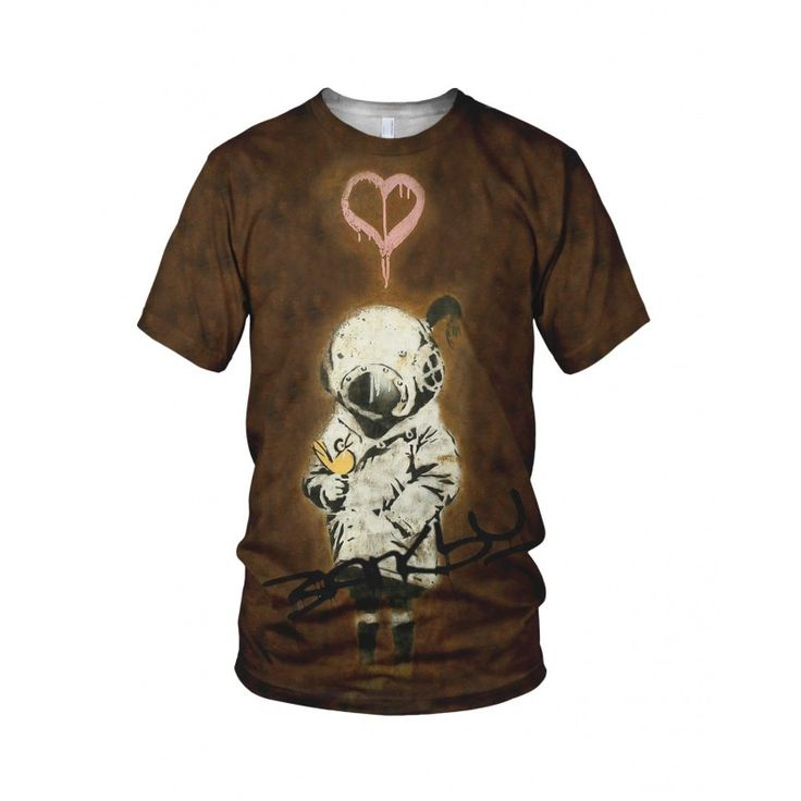 """Space Girl And Bird, from the collection of """"Hand Printed"""" Designs by the prolific street artist known as """"Banksy"""".   More Designs and Styles on the Store: http://www.globalmusicollective.com/store/?product_cat=banksy"""