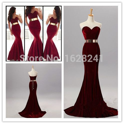 Encontrar Más Vestidos de Noche Información acerca de Vestidos de noche de la vendimia 2015 de la sirena de terciopelo rojo con cinturón de oro novia de los vestidos de noche del cordón del amor  Up vestidos de fiesta formal,, alta calidad velvet blouse, China velvet dress girl Proveedores, barato velvet evening dress de True Love Bridal dress Co., Ltd.  en Aliexpress.com