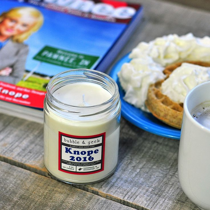 Knope 2016, our only hope! This candle smells like optimism, whipped cream, waffles, and coffee.