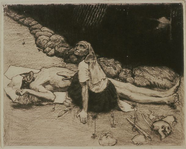 Akseli Gallen-Kallela: Lemminkäisen äiti, 1903, etsaus. Gallen-Kallelan Museo. Kuva: Gallen-Kallelan Museo