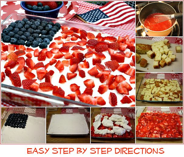Mommy's Kitchen - Home Cooking & Family Friendly Recipes: No Bake Flag Cake & Patriotic Pretzel Rods