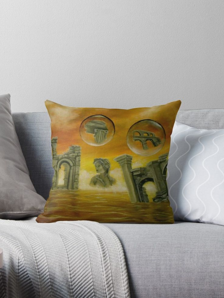 Interior Decor, Inspiration, ideas, items, for sale, colorful, orange, golden, ancient, ruins, temples, sea, sunset, sky, fantasy, unique, impressive, cool, artistic, Throw Pillow