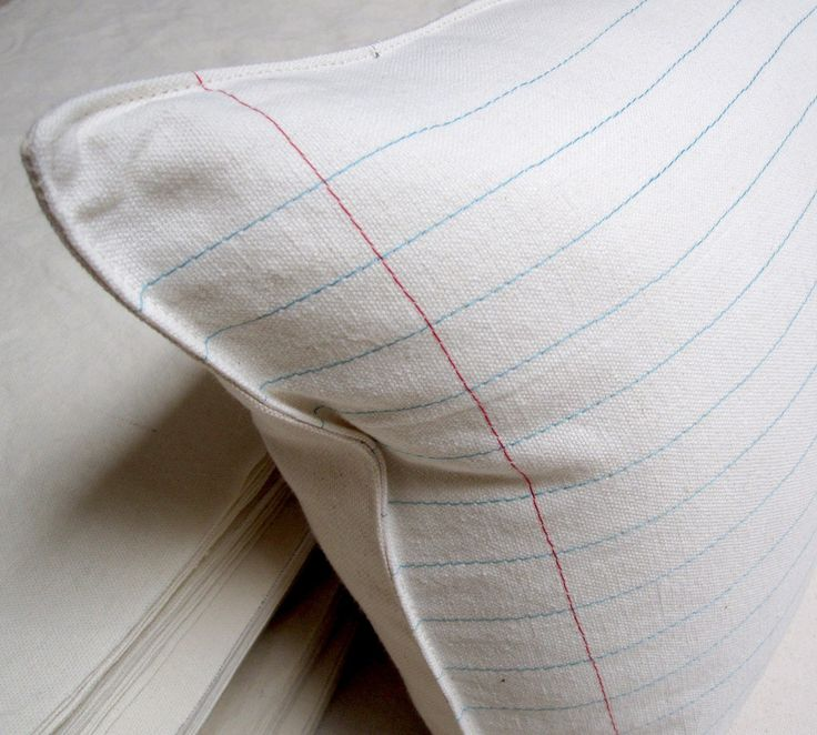 lined paper pillow cover by pilosale on Etsy $35