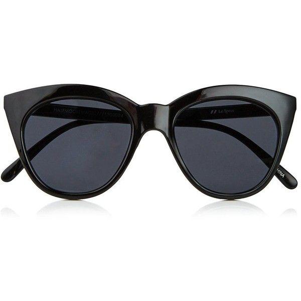 Le Specs Halfmoon Magic found on Polyvore featuring accessories, eyewear, sunglasses, glasses, black, occhiali, dark tinted sunglasses, half moon glasses, cat eye sunglasses and cateye sunglasses