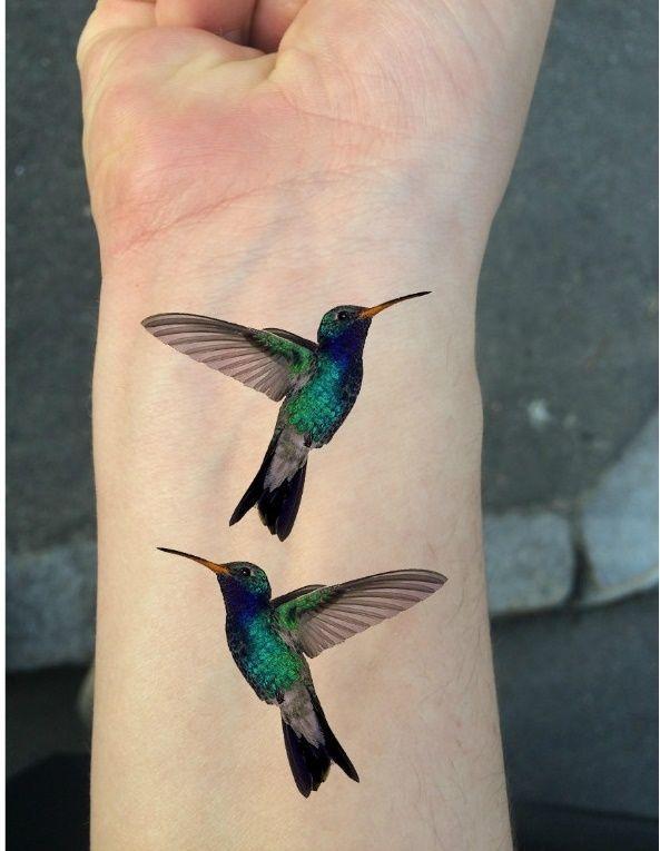 Ship From Ny - Temporary Tattoo - Set Of 2 Wrist Size Hummingbirds*