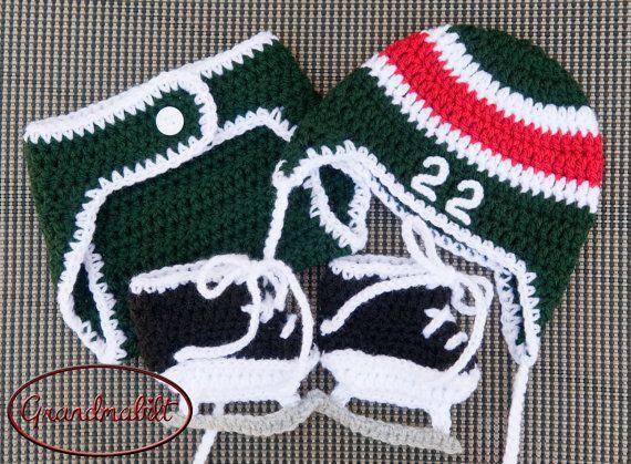 Free Crochet Pattern For Baby Hockey Helmet : Crocheted Baby BOYS HOCKEY Helmet Hat Diaper by ...