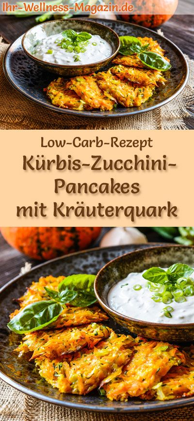 Low Carb Kürbis Zucchini Pancakes Mit Kräuterquark Herzhaftes