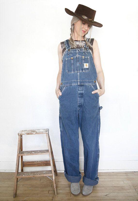 Vintage Carhartt Overalls Denim Bib Overalls Men S Small Women S Medium Large Carhartt