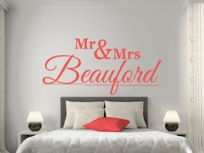 The perfect wedding gift or anniversary present - Mr and Mrs design with date.  All our wall stickers/decals are available in a great range of sizes and colours - and can be personalised to be truly custom.