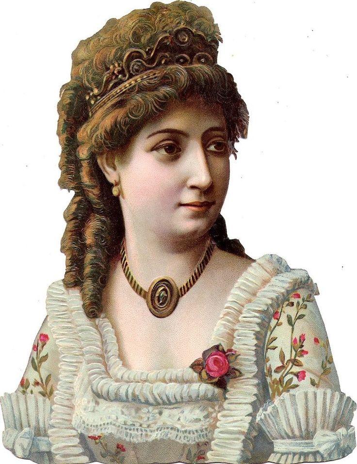 Oblaten Glanzbild scrap die cut chromo Dame 16,5 cm  lady femme buste portrait