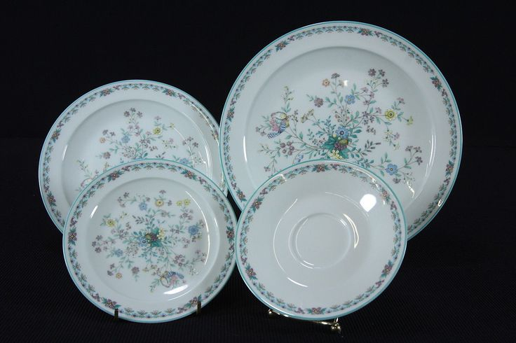 4 Noritake Paradise 8223 W/80 Pattern Green Floral Plates Place Setting UNUSED
