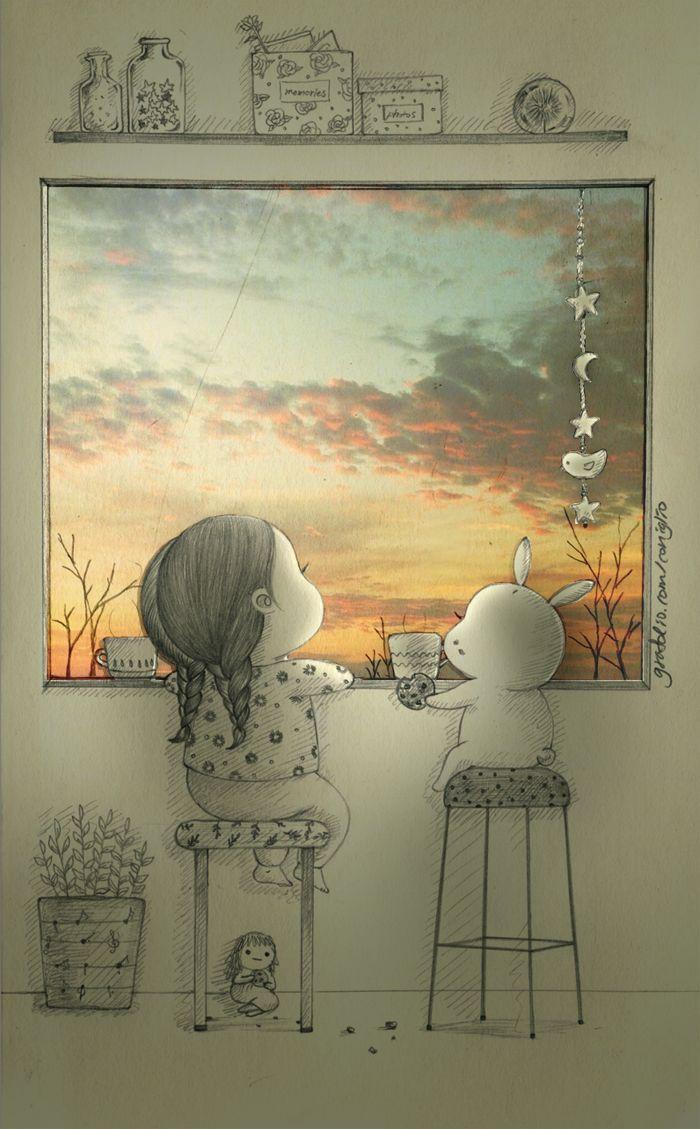 아름다운 하늘을 볼 때 혼자가 아님을  감사하게 느끼게 되는 순간은 말이야. 너와 함께함을 소중하게 느끼게 되는 순간이기도해..  There's a moment I become thankful because I am not alone.. It's so precious when I can see the beautiful sky with you..