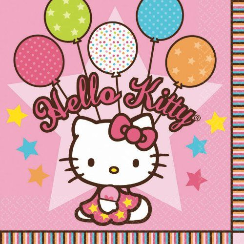 Amscan Hello Kitty Balloon Dreams 6-1/2 x 6-1/2 Luncheon Napkins, 16-Count $4.12