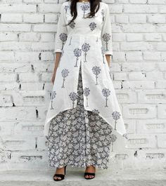 Grey & White Cotton Printed High Low Cape And Palazzo Set