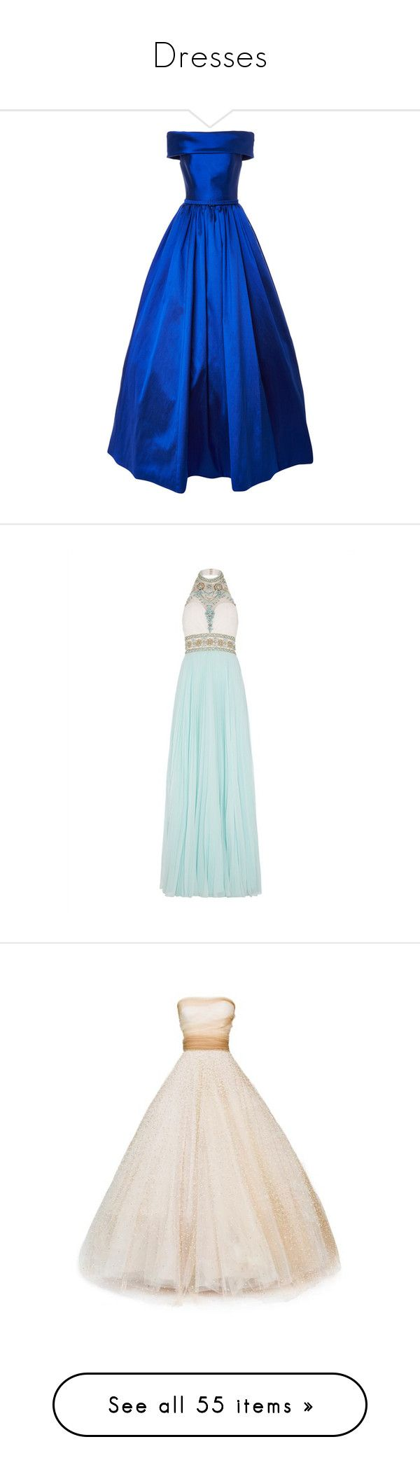 """""""Dresses"""" by anagrace2018 ❤ liked on Polyvore featuring dresses, gowns, long dresses, blue evening gown, blue gown, off the shoulder dress, royal blue long dress, gown, turquoise gown and white gown"""