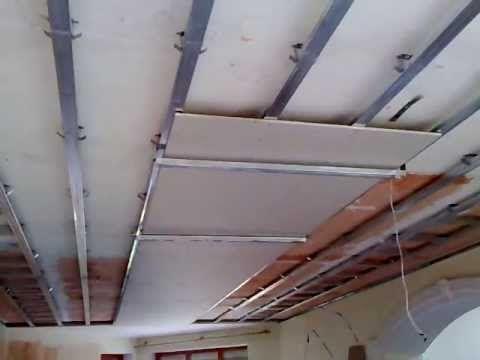 #1. гипсокартонный потолок, секрет монтажа в одиночку. One man drywall i...