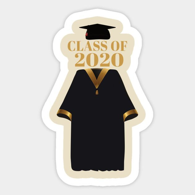 Class Of 2020 Cap And Gown Cap And Gown Sticker Teepublic Graduation Stickers Graduation Images Graduation Party Photo Booth Props