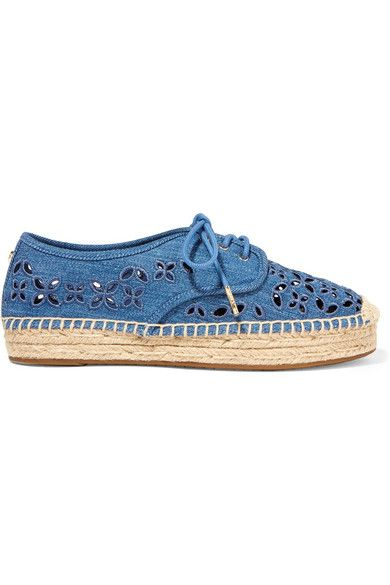 Sole measures approximately 20mm/ 1 inch Blue denim Lace-up front